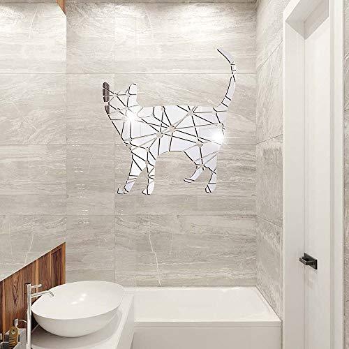Geometrische Katze Wandaufkleber Acryl Spiegel Aufkleber Schlafzimmer Wohnzimmer Kinderzimmer Dekoration Wasserdicht Selbstklebend Silber 27X30 Cm