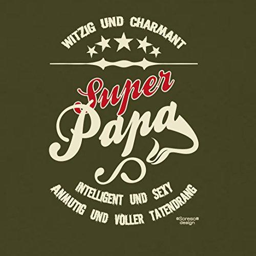 Vatertag, Vatertagsgeschenk Super Papa T-Shirt als Geschenkidee für den liebsten Vater auch in Herren Übergröße Farbe: khaki Khaki