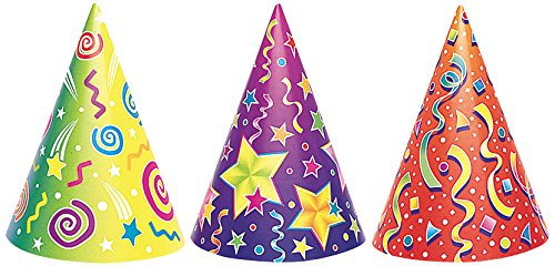 unique-6-party-hats-cone-hats-with-string-multi-colours-great-for-parties