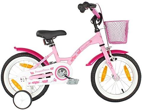 PROMETHEUS Kinderfahrrad 14 Zoll Mädchen in Rosa Lila & Weiß mit Stützrädern | Seitenzugbremse und Rücktrittbremse | ab 4 Jahren | 14