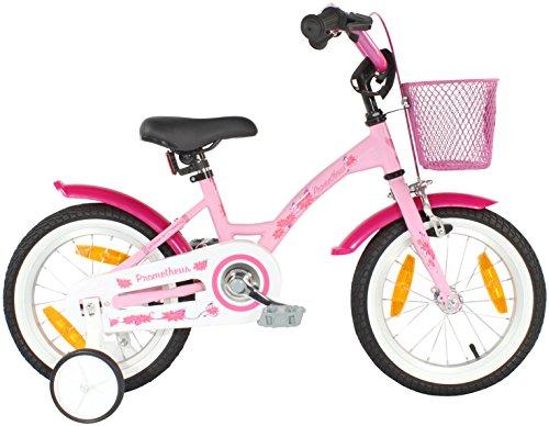 PROMETHEUS® Premium Vélo pour enfants à partir d'env. 3-4   Edition Classic 14 Pouces   Couleur Rose & Blanc