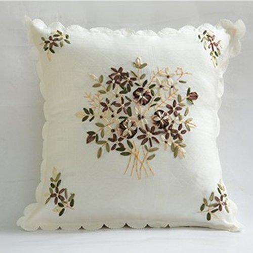Baozengry Ribbon Embroidery Lace Kissen Kissen Core Auto Polster Rückenlehne Rückenlehne Bett, 40 X 40 Cm Kopfkissenbezug Kern, Weiße Blume -