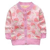 ESHOO Baby Girls Boys Strawberry/Car Print Cardigan Fleece Warm Knitwear