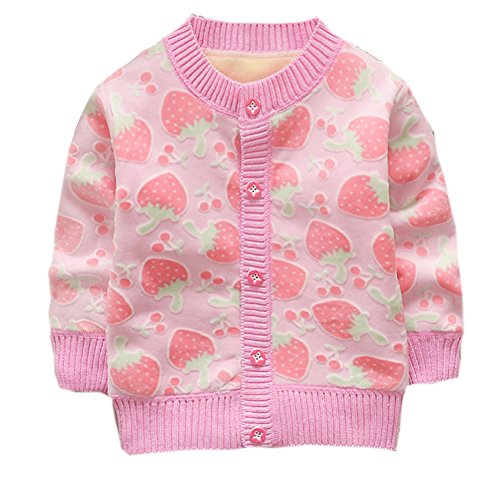ESHOO Baby Girls Boys Strawberry/Car Print Cardigan Fleece Warm Knitwear