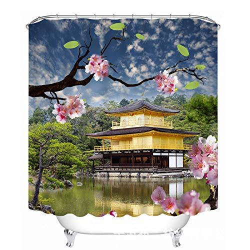 NOVELOVE Pfirsich Blossom Landschaft Alte Haus-Druck Wasserdichten Duschvorhang Breite 200cm * Höhe 180cm