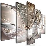 decomonkey | Bilder Abstrakt Pusteblume 200x100 cm | 5 Teilig | Leinwandbilder | Bilder | Vlies Leinwand | Bilder | Wand | Bild auf Leinwand | Wandbild | Kunstdruck | Wanddeko | Blumen Aufschrift Beige Modern | DKC0199a5XL