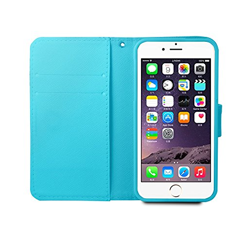 Etsue für iPhone 6S/iPhone 6 [Fuck You] Leder Schutzhülle Wallet Ledertasche Muster, Bunte Retro Leder Flip Case Brieftasche Case Hülle Bookstyle Magnetic Leder Hülle Backcover mit Standfunktion und K Grau Notizbuch