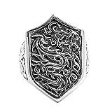 Epinki Plata de Ley 925 Gótico Escudo Dragón Anillo para Hombre Tamaño 21 para Compromiso y Boda