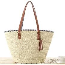 REFURBISHHOUSE Bolsa de playa de paja para mujer Bolsa de viaje, Forro de algodon,
