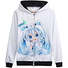 Bromeo Hatsune Miku Anime Unisexe Zip Complet Sweat à capuche Veste