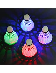 Rixow LED Balle de Badminton / LED Volant de Badminton Nuit Eclairage pour les Activités Sportives Intérieur et Extérieur (4 pack avec 4 Couleurs)