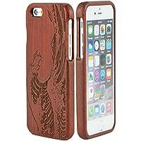 SunSmart Mano autentico legno naturale legno Caso case shell skin per iPhone 6 plus 5.5'' (sequoia-mare onda )