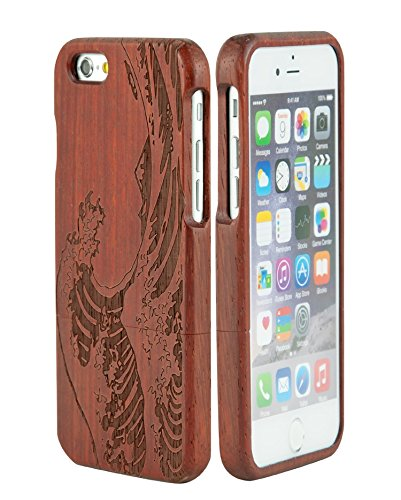 eimo iPhone 6 Case 4.7'' Manuel Bois Protective Hard Back Case Cover pour iPhone 6 4.7''(tigre) palissandre d'onde de la mer