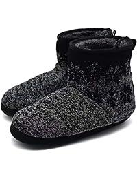 24ed6ab19d48df KuaiLu Knit Wool Warm Men Indoor Pull On Cosy Memory Foam Slipper  Boots Booties TPR
