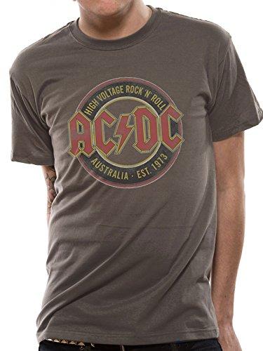 Mercanzie Licenza Ufficiale AC/DC - AUSTRALIA EST 1973 T-Shirt (Grigio Scuro), Large