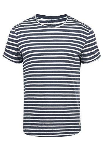 Blend Genesis Herren T-Shirt Kurzarm Shirt Streifenshirt Mit Streifen Und Rundhalsausschnitt, Größe:L, Farbe:Mood Indigo Blue (74648) - Blaue Streifen-blues Shirt