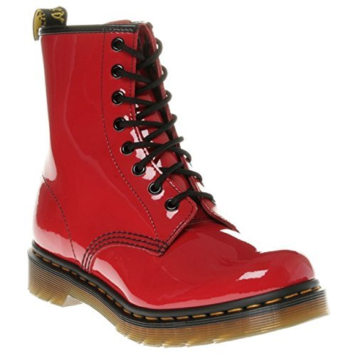ent RED, Damen Combat Boots, Rot (Red), 37 EU (4 Damen UK) (Red Patent Leder Stiefel)