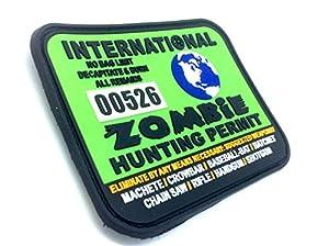 Permis de Chasse de Monde Zombie International Vert PVC Grand Airsoft Velcro Patch