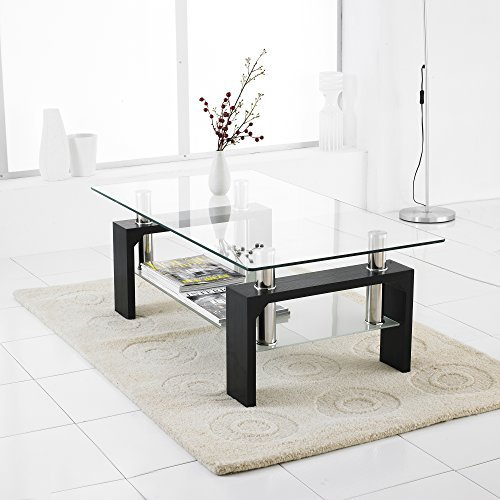 Neotechs® Modern Black Rectangle Clear Glass & Chrome Living Room Coffee Table With Lower Shelf
