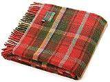 Tartán de arce oscuro pura lana rodilla alfombra de viaje manta–British Made–Tweedmill