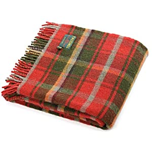51MD0Kv4nZL. SS300  - British made Dark Maple tartan wool picnic blanket travel rug
