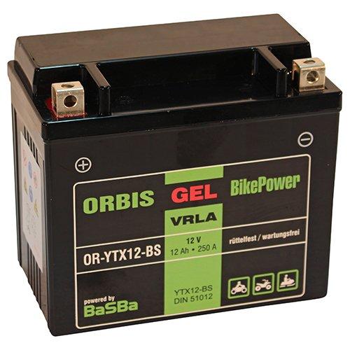 Orbis Gel12-12-BS Motorradbatterie - YTX12-BS 12 Volt 12 Ah 250 A