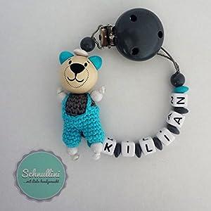 Schnullerkette mit Namen Gravur Teddy mit Latzhose Geburt Taufe Geschenk Silikonring individuell | Junge Namenskette