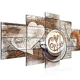 Bilder Kaffee Küche Wandbild 100 x 50 cm Vlies - Leinwand Bild XXL Format Wandbilder Wohnzimmer Wohnung Deko Kunstdrucke Braun 5 Teilig - MADE IN GERMANY - Fertig zum Aufhängen 012852b