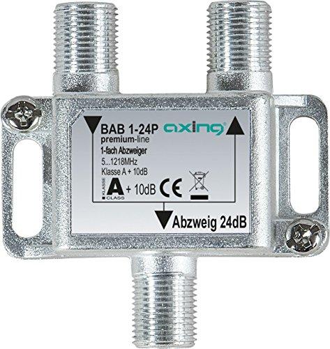 Axing BAB 1-24P 1-fach Abzweiger 24dB Kabelfernsehen CATV Multimedia DVB-T2 Klasse A+, 10dB, 5-1218 MHz metall