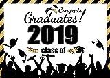 AIIKES 2.1Mx1.5M/7x5FT Clase de 2019 Graduación Fiesta de Fondo Felicidades Graduados Backdrop Ceremonia Banner Fotografía Telón de Fondo Graduado Party Decoración Fondo 11-478