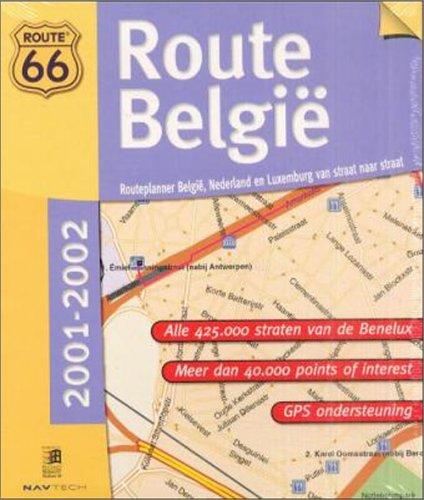 Route 66, Route Belgie 2001/2002, 1 CD-ROM, niederländ. VersionRouteplanner Belgie, Nederland en Luxemburg van straat naar straat. Für Windows 95/98/2000/Me/NT 4.0. Alle 425 straten va de Benelux. Meer dan 40.000 points of interest. GPS ondersteuning