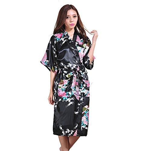 Surenow Weibliche Damen Muster Exotische Pfau Satin Blumen Schlafanzug Nachthemd Bademantel Sleepwear Schwarz