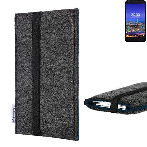 flat.design Handyhülle Lagoa für Vestel 5530 | Farbe: anthrazit/blau | Smartphone-Tasche aus Filz | Handy Schutzhülle| Handytasche Made in Germany