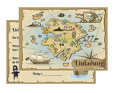 15 Einladungskarten Kindergeburtstag: Pirat / Schatzkarte / Schatzsuche / Piratenparty | Geburtstagseinladungen Einladungen Geburtstag Kinder Jungen Mädchen (15 Karten)