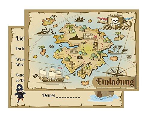 Kindergeburtstag: Pirat / Schatzkarte / Schatzsuche / Piratenparty | Geburtstagseinladungen Einladungen Geburtstag Kinder Jungen Mädchen (15 Karten) (Halloween Hello Kitty Kostüm Ideen)