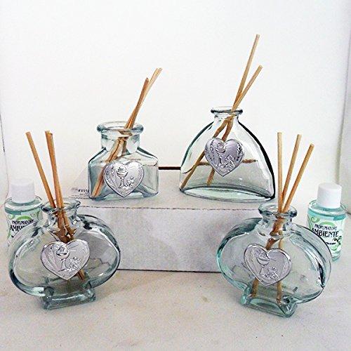 Dlm16207 (kit 12 pezzi) profumatori in vetro per comunione bomboniera