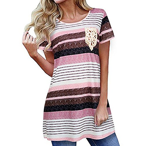 Anker-charts (Piebo Damen Fashion Lace Pocket Kurzarm T-Shirt Gestreifte Casual Bluse Tunika Tops (L, Pink))