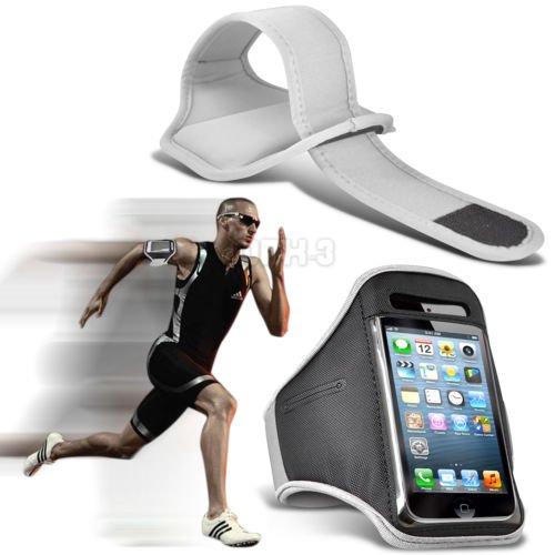 Fonecase HTC One M8 Sport Armbänder mit dem Fahrrad Radfahren Fitnessstudio Joggen abzugewöhnen Armband Case Cover Weiß (Htc One M8 Armband Geldbörse)