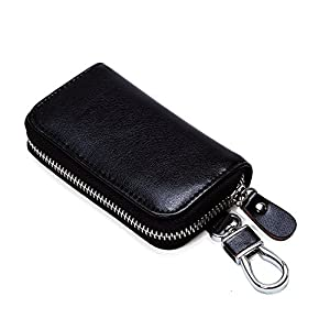 Women's Large Capacity Luxury Wax Smooth Finish Genuine Leather Zipper Clutch Wallet Card Holder Ladies Travel Purse
