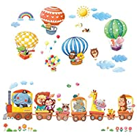 Decowall Animal Train and Hot Air Balloons Transports Kids Wall Stickers Wall Decals Peel and Stick Removable Wall Stickers for Kids Nursery Bedroom Living Room (1406 / 1406L / 1806 / 1806P1506C)