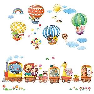 Decowall-DA-1406-Tren-de-Animales-y-Globos-Aerostticos-Vinilo-Pegatinas-Decorativas-Adhesiva-Pared-Dormitorio-Saln-Guardera-Habitacin-Infantiles-Nios-Bebs