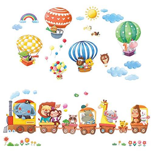 dschungel wandtattoo Decowall DA-1406 Zug und Heißluftballons Autos Flugzeuge Tiere Wandtattoo Wandsticker Wandaufkleber Wanddeko für Wohnzimmer Schlafzimmer Kinderzimmer