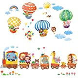 Decowall Da 1406 Hot Air Balloons Planes Cars Animals Wall Stickers Wall Decoration for Living Room Bedroom Children's Room