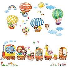 Decowall DA 1406 Zug Und Heißluftballons Autos Flugzeuge Tiere Wandtattoo  Wandsticker Wandaufkleber Wanddeko Für Wohnzimmer