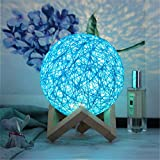 PDDXBB Adjustable USB LED Charging Broken Ball Table Lamp Wire Wicker Desk Moon Bed...