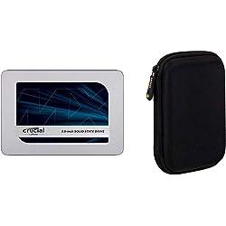 Crucial MX500 2TB CT2000MX500SSD1(Z) fino a 560 MB/s, SSD Interno, 3D NAND, SATA, 2.5 Pollici & Amazon Basics Custodia per Hard Drive esterno