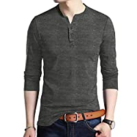 JXEWW Henley Mens Tshirts Polo Cotton Long Sleeves Slim Fit V Neck Button Tops Tees (S, VBlack)