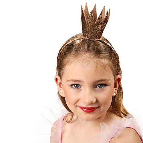 nen Krone Glitter Gold Zubehör für Märchen Kinder Kostüm ()