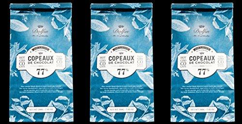 Dolfin Trinkschokolade-Flocken - 77% Kakao - 3x 200 g in Nachfüllbeutel