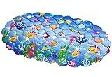 YiLianDa Mehrzweck-Badematte PVC-Material Wanne Matte Nicht Beleg Matten für Kinder Dusche Badezimmer-Sicherheit Muster HellBlau